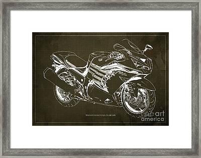 2016 Kawasaki Ninja Zx-14r Abs Blueprint Brown Background Framed Print by Pablo Franchi