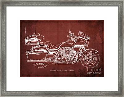 2016 Kawasaki Vulcan 1700 Voyager Abs  Blueprint  Red Background Framed Print by Pablo Franchi