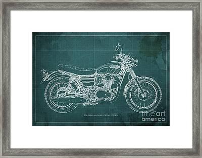 2016 Kawasaki W800 Speciaol Edition Blueprint Green Background Framed Print by Pablo Franchi