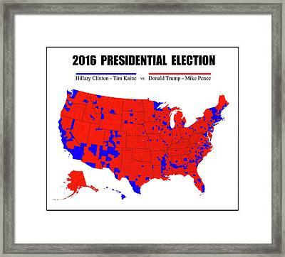 2016 Trump - Pence Vs Clinton - Kaine Election Map - Pinline Border Framed Print