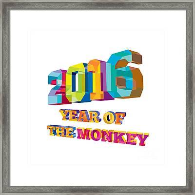 2016 Year Of The Monkey Low Polygon Framed Print by Aloysius Patrimonio