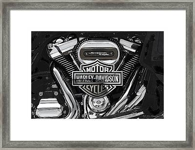 Framed Print featuring the digital art 2017 Harley-davidson Screamin' Eagle Milwaukee-eight 114 Engine With 3d Badge by Serge Averbukh