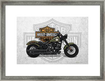 Framed Print featuring the digital art 2017 Harley-davidson Softail Slim S Motorcycle With 3d Badge Over Vintage Background  by Serge Averbukh