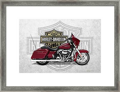 Framed Print featuring the digital art 2017 Harley-davidson Street Glide Special Motorcycle With 3d Badge Over Vintage Background  by Serge Averbukh