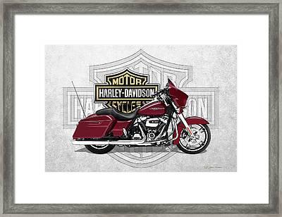 2017 Harley-davidson Street Glide Special Motorcycle With 3d Badge Over Vintage Background  Framed Print by Serge Averbukh