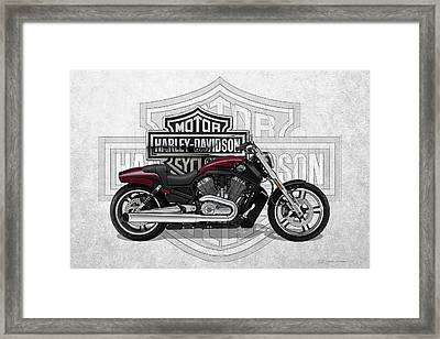 Framed Print featuring the digital art 2017 Harley-davidson V-rod Muscle Motorcycle With 3d Badge Over Vintage Background  by Serge Averbukh