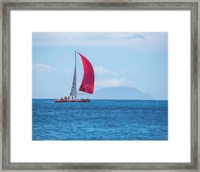 2017 Heineken Regatta Sailing Past Saba Saint Martin Sint Maarten Red Sail Framed Print