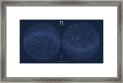 2017 Pi Day Star Chart Azimuthal Projection Framed Print by Martin Krzywinski