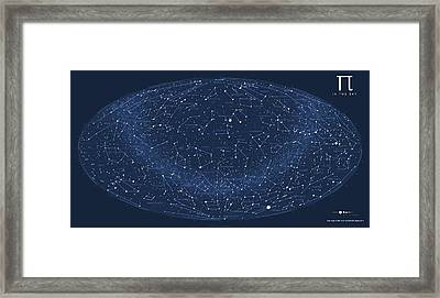 2017 Pi Day Star Chart Hammer/aitoff Projection Framed Print by Martin Krzywinski