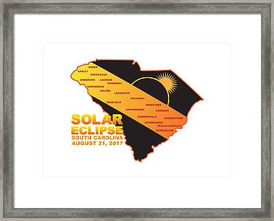 2017 Solar Eclipse Across South Carolina Cities Map Illustration Framed Print