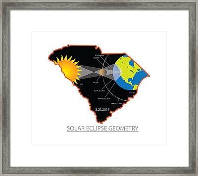 2017 Solar Eclipse Geometry Across South Carolina Cities Map Illustration Framed Print