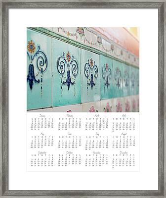 Framed Print featuring the photograph 2017 Wall Calendar Blue Ceramic Tiles by Ivy Ho