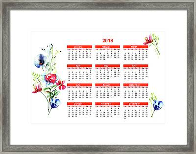 2018 Calendar With Stylized Flowers Framed Print
