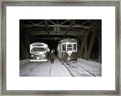 Framed Print featuring the photograph 207th Street Crosstown Trolley by Cole Thompson