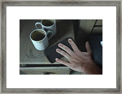 Bedside Table And Cellphone Framed Print