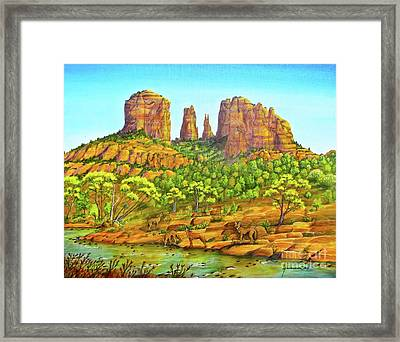 21 Coyotes Of Sedona Arizona Framed Print by Jerome Stumphauzer