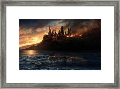 21784 Fantasy Fantasy Scenery Burning Castle Framed Print