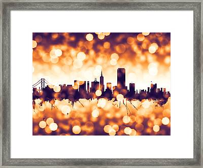 San Francisco City Skyline Framed Print by Michael Tompsett