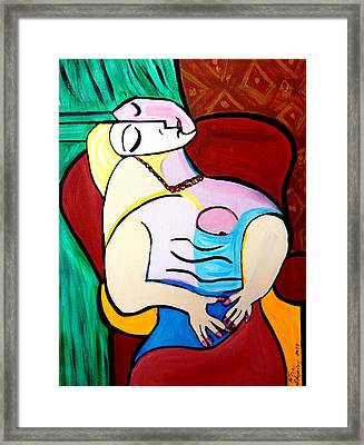Sleeping In Brown Chair  Picasso Framed Print
