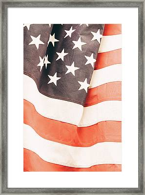 Framed Print featuring the photograph American Flag by Les Cunliffe