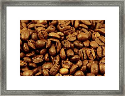 Framed Print featuring the photograph Coffee Beans by Les Cunliffe