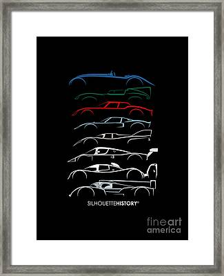 24 Hours Race Cars Silhouettehistory Framed Print