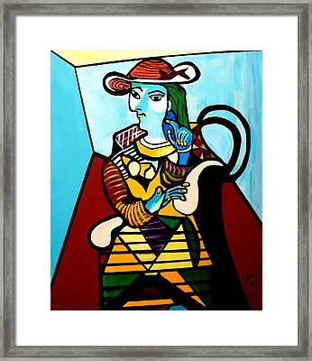 Man In Chair  Picasso Framed Print