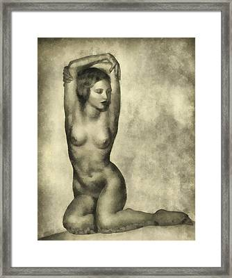 Vintage Pinup By Frank Falcon Framed Print
