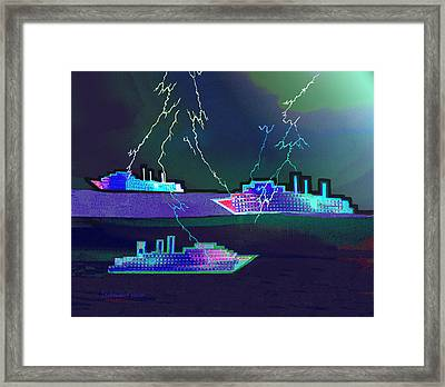 2410 - Ships In Stormy Weather 2017 Framed Print