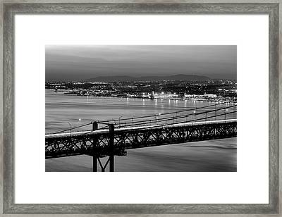 25 April Bridge Over Tagus River Framed Print by Carlos Caetano
