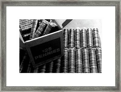 25 Dollar Pennies Framed Print by Jera Sky
