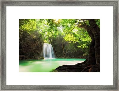 Erawan Waterfall  Framed Print by Anek Suwannaphoom