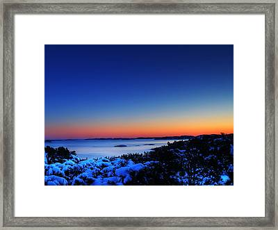 25059 Travel Sunset Over Southern Norway  Framed Print