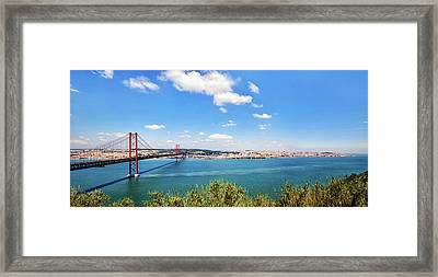 Framed Print featuring the photograph 25th April Bridge Lisbon by Marion McCristall