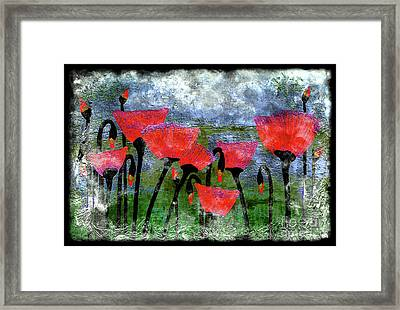 26a Abstract Floral Red Poppy Painting Framed Print