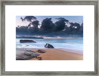 Sunrise Seascape With Clouds Framed Print