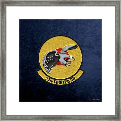 Framed Print featuring the digital art 27th Fighter Squadron - 27 Fs Over Blue Velvet by Serge Averbukh