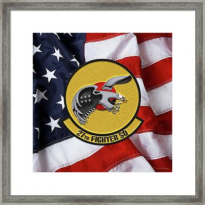 Framed Print featuring the digital art 27th Fighter Squadron - 27 Fs Patch Over American Flag by Serge Averbukh