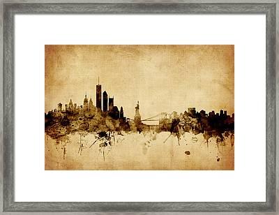 New York Skyline Framed Print by Michael Tompsett