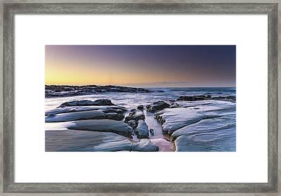Sunrise Seascape And Rock Platform Framed Print