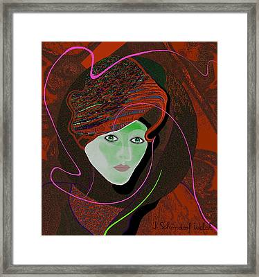 289 - Anna  With  Dark Red Cap Framed Print by Irmgard Schoendorf Welch