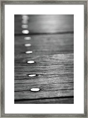 Detail Of Nails On Boardwalk Framed Print