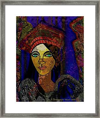 299 - Woman With Red Hat   Framed Print by Irmgard Schoendorf Welch
