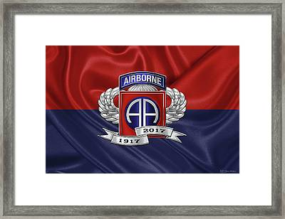 2nd Airborne Division 100th Anniversary Insignia Over Division Flag Framed Print by Serge Averbukh