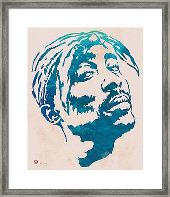 2pac Tupac Shakur Pop Art Poster Framed Print by Kim Wang