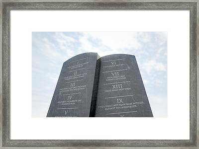 10 Commandments In Desert Framed Print by Allan Swart