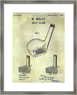 1902 Golf Club Patent Framed Print by Jon Neidert