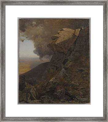 A Cliff In The Katskills Framed Print by Jervis McEntee
