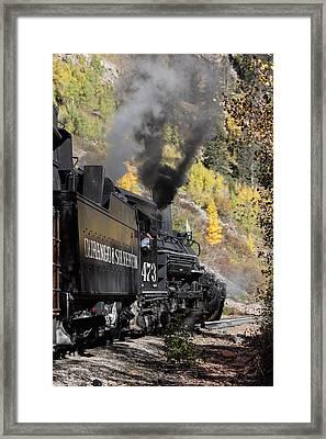 Framed Print featuring the photograph A Durango And Silverton Narrow Gauge Scenic Railroad Train Chugs Through The San Juan Mountains by Carol M Highsmith