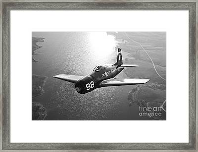 A Grumman F8f Bearcat In Flight Framed Print